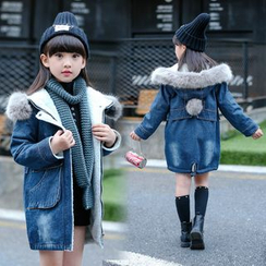 Pegasus - Kids Furry Hooded Denim Coat