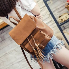 Shinian - Tasseled Faux-Leather Backpack