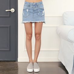 DANI LOVE - Distressed Denim Skort
