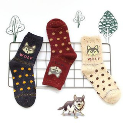 Socka - Pair of 3: Wolf-Print Socks
