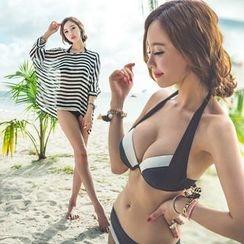 Shanyoo - Set: Contrast Trim Bikini + Striped Cover-Up