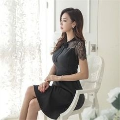 ERANZI - Short-Sleeve Lace-Yoke A-Line Sheath Dress