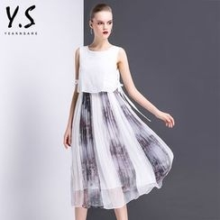 Y:Q - Printed Mock Two-Piece Dress