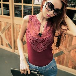 Sweet Dolly - Open Placket Lace-Panel Tank Top