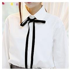 Sechuna - Long-Sleeve Tie-Front Shirt