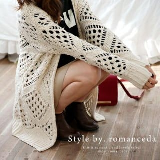 it's girl - V-Neck Open-Knit Cardigan