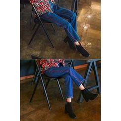 migunstyle - Contrast-Trim Straight-Cut Jeans