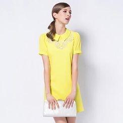 O.SA - Short-Sleeve Eyelet Embroidered Dress