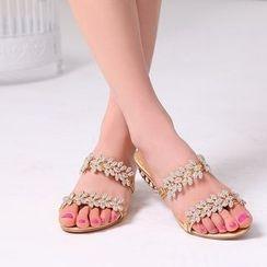 Shoes Galore - Rhinestone Slide Sandals