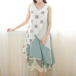 Blue Hat - Sleeveless Layered Chiffon Dress
