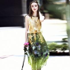 洛图 - 无袖印花真丝连衣裙