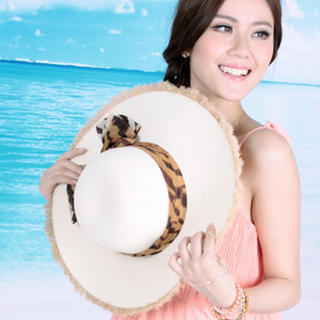 Momiton - Bow-Accent Fridge-Hem Straw Sun Hat