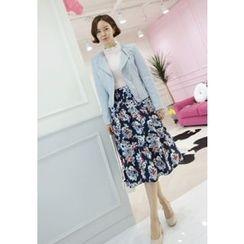 Lemite - Floral Print A-Line Skirt