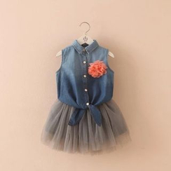 Seashells Kids - Kids Set: Tie-hem Sleeveless Top + Tulle Skirt