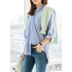 J-ANN - Tab-Sleeve Dual-Pocket Stripe Shirt