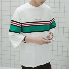 Bay Go Mall - Striped 3/4-Sleeve T-Shirt