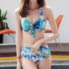 Zeta Swimwear - Set: Floral Print Bikini + Cover-Up