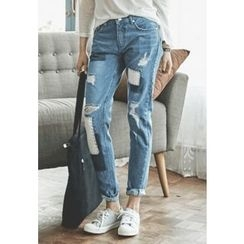 REDOPIN - Patch Straight-Cut Jeans