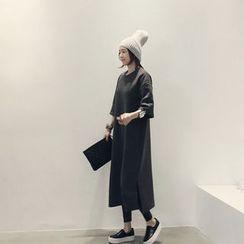 NANING9 - Cotton Blend Elbow-Sleeve Dress