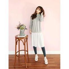 LOLOten - Mock-Two-Piece Ruffle-Hem Pullover Dress