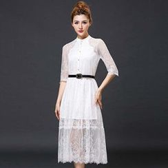Lavogo - Elbow-Sleeve Lace Midi Dress