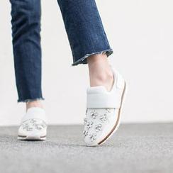 VIVIER - Rhinestone-Detail Banded Sneakers