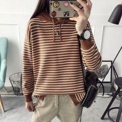 Qimi - Striped Knit Hoodie