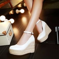 JY Shoes - Wedge Pumps with Ankle Strap