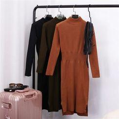 Clementine - 純色小高領長袖針織連衣裙