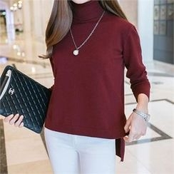 PIPPIN - Turtle-Neck Dip-Back Knit Top