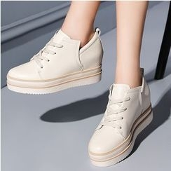 ZOHOUR - Hidden Wedge Platform Lace-Up Shoes