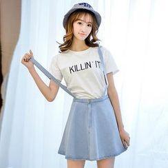 Colorful Shop - Suspender Denim Skirt