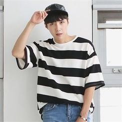 MITOSHOP - Elbow-Sleeve Striped T-Shirt