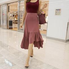 DABAGIRL - Asymmetric Ruffle-Hem Midi Skirt