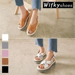 Wifky - Cross-Strap Platform Sandals
