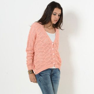 59 Seconds - Batwing-Sleeve V-Neck Open-Knit Cardigan