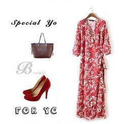 Ainvyi - Floral Print Maxi Wrap Dress