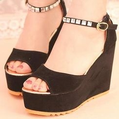 IYATO - Rhinestone Ankle-Strap Wedge Sandals