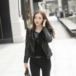Gl.bY - Faux Leather Biker Jacket
