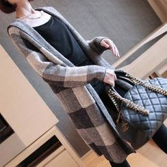 YIDIYU - Plaid Hooded Long Cardigan