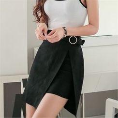 Babi n Pumkin - Wrap-Front Belted A-Line Mini Skirt