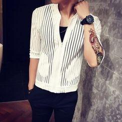 Besto - Striped 3/4 Sleeve Light Jacket