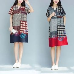 Yeeya - Short-Sleeve Patterned A-Line Dress