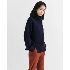 Someday, if - Turtle-Neck Slit-Hem Wool Blend Knit Top