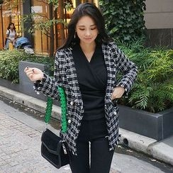 Seoul Fashion - Faux-Pearl Buttoned Tweed Jacket
