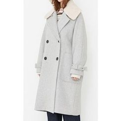 Someday, if - Fleece-Collar Wool Blend Coat