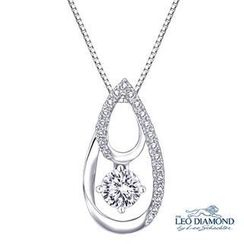 Leo Diamond - 18K White Gold Diamond Pear Shape Pendant Necklace (16')