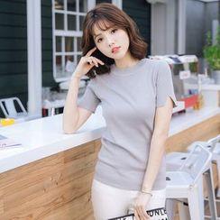 Tokyo Fashion - Slit-Cuff Short-Sleeve Sweater