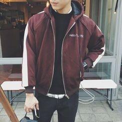 JUN.LEE - Hooded Color Block Zip Jacket