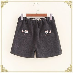 Fairyland - Fox Embroidered Woolen Shorts